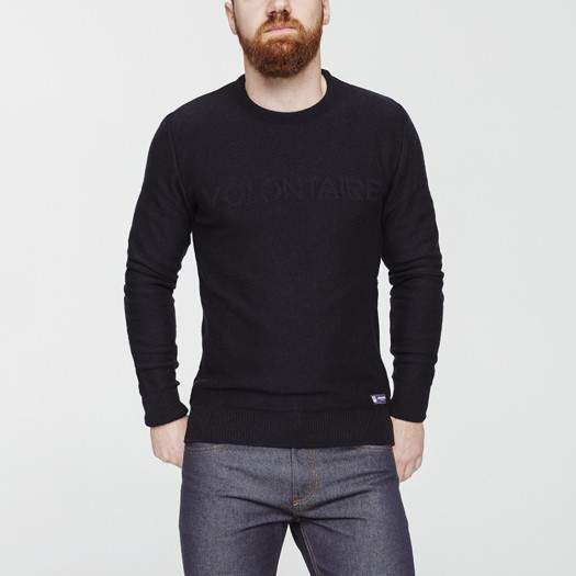18 Pull Homme Volontaire Bleu Face