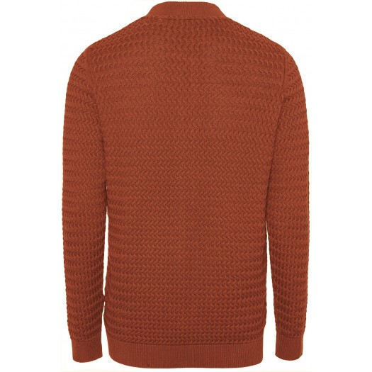 Field Cardigan Structured Knit Rust