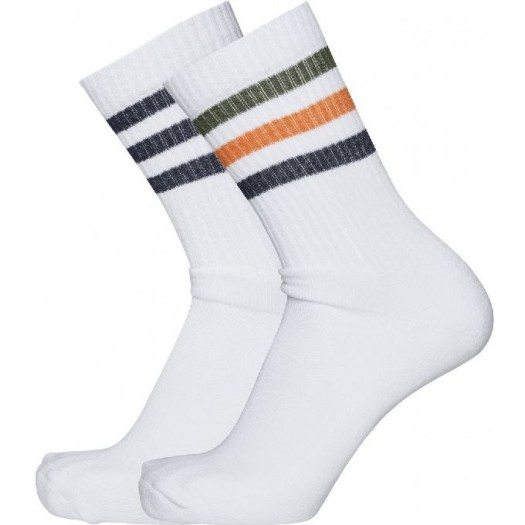 2 Pack 3 Striped Tennis Socks Persimmon Orange