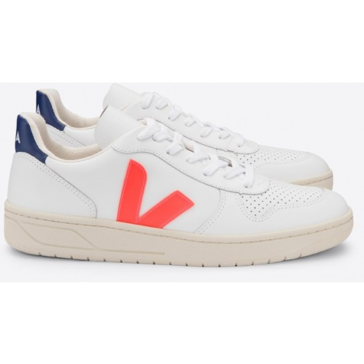 V10 Leather Extra White Orange-Fluo Cobalt