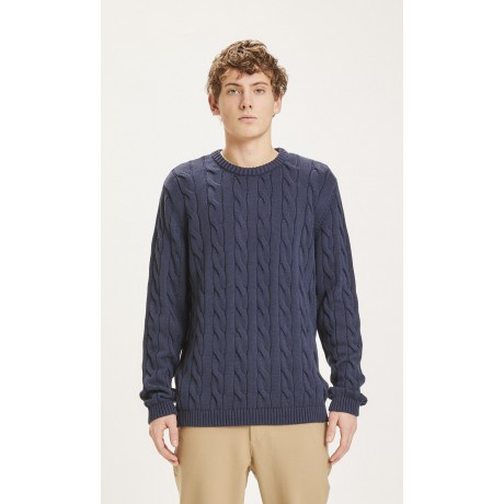 Field Cable Crew Neck Knit Total Eclipse face