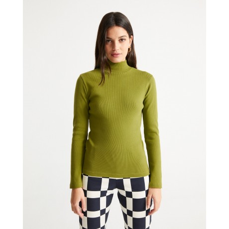 Green Rib Aine L/S Parrot Green face
