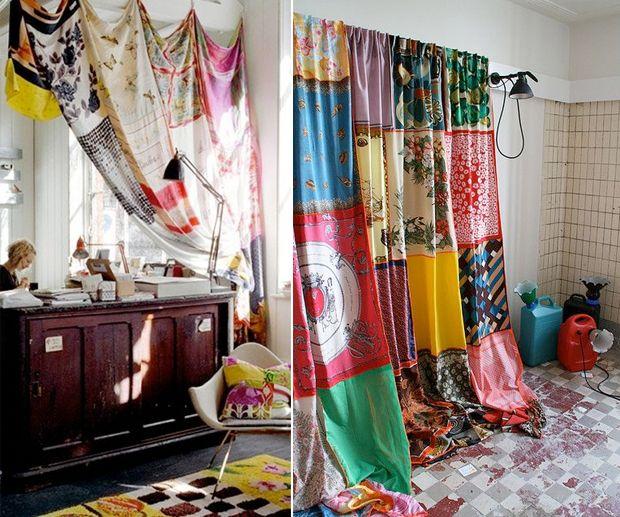 41d3937f6a1e Rideaux faits à base de foulards vintage Le principe du recyclage   rien ne  se perd, tout se transforme ! Il est aussi possible de recycler ses vieux  habits ...